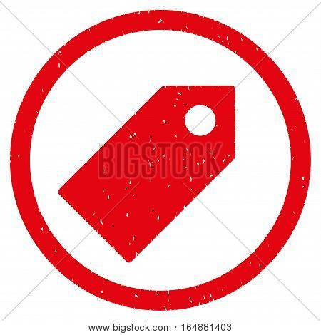 Tag rubber seal stamp watermark. Icon vector symbol with grunge design and corrosion texture. Scratched red ink sign on a white background.