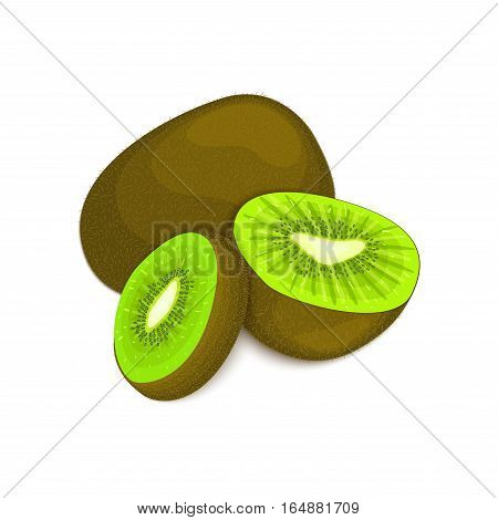 Composition of several kiwi. Ripe vector kiwifruits whole and slice appetizing looking. Group of tasty fruits colorful design for the packaging of juice breakfast, healthy eating, vegetarianism