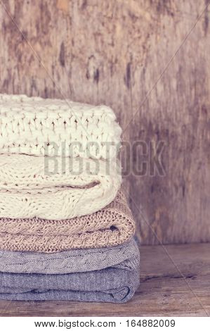 A Stack Of Woolen Sweater, Plaid