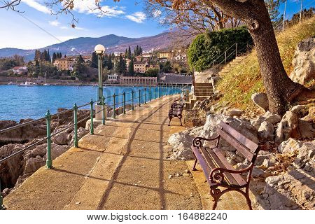 Lingomare seafront walkway in Opatija Riviera near Ika Kvarner bay Croatia poster