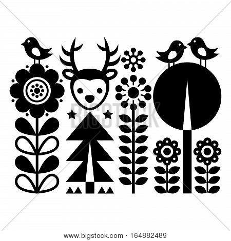 Scnandinavian folk art pattern - Finnish inspired, Nordic style with flowers, deer, and birds