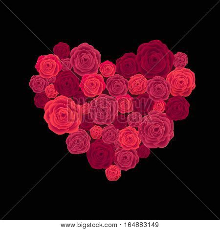 Rose Heart Isolated on Black Background. Happy Valentines Day Card. Wedding Poster.