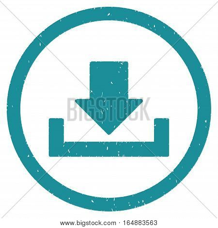 Download rubber seal stamp watermark. Icon vector symbol with grunge design and corrosion texture. Scratched soft blue ink emblem on a white background.