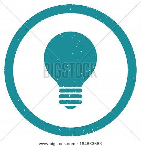 Electric Bulb rubber seal stamp watermark. Icon vector symbol with grunge design and dirty texture. Scratched soft blue ink sticker on a white background.