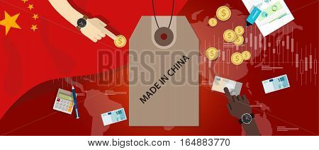 made in China flag trading international money exchange export import vector