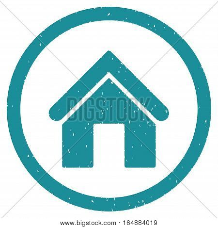 Home rubber seal stamp watermark. Icon vector symbol with grunge design and dirty texture. Scratched soft blue ink emblem on a white background.
