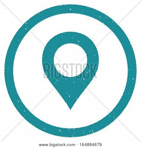 Map Marker rubber seal stamp watermark. Icon vector symbol with grunge design and corrosion texture. Scratched soft blue ink sticker on a white background.