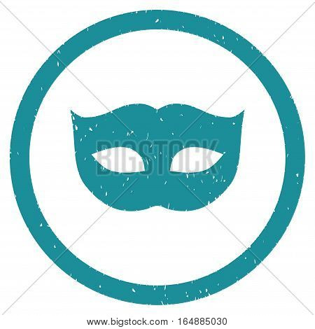 Privacy Mask rubber seal stamp watermark. Icon vector symbol with grunge design and corrosion texture. Scratched soft blue ink emblem on a white background.
