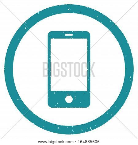 Smartphone rubber seal stamp watermark. Icon vector symbol with grunge design and corrosion texture. Scratched soft blue ink sticker on a white background.