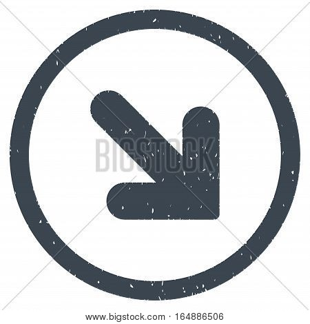 Arrow Down Right rubber seal stamp watermark. Icon vector symbol with grunge design and unclean texture. Scratched smooth blue ink emblem on a white background.