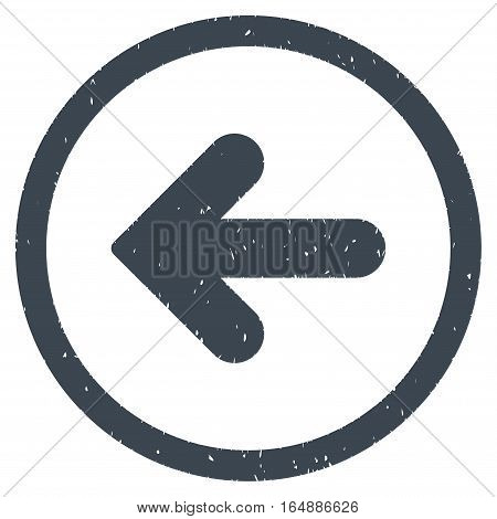 Arrow Left rubber seal stamp watermark. Icon vector symbol with grunge design and corrosion texture. Scratched smooth blue ink emblem on a white background.