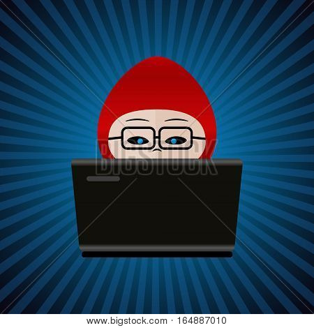 Hacker With Red Cap Computer Man Behind Laptop Working Icon Eps10