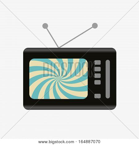 Old And Retro Television With Hypnotic Screen Icon Eps10