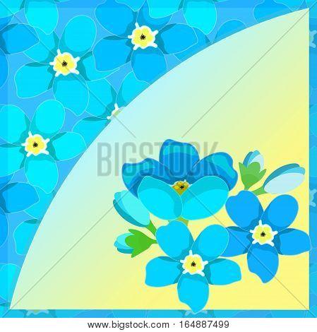 Card Of Forget-me-alpine A Wild Flower  Vector Illustration