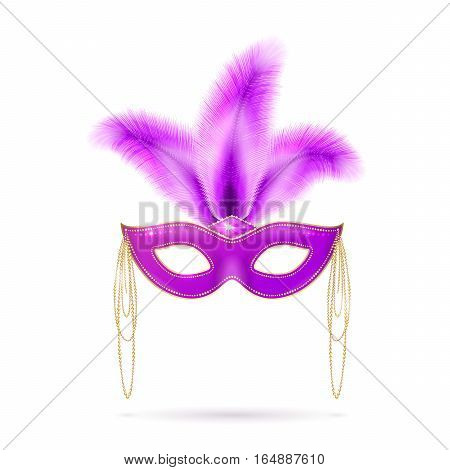 Vector illustration of violet luxury ornate Venetian carnival mask with colorful purple feathers for Mardi Gras holiday