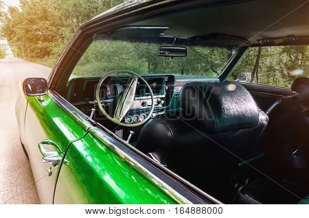 Old vintage green car vehicle interior. concept vintage
