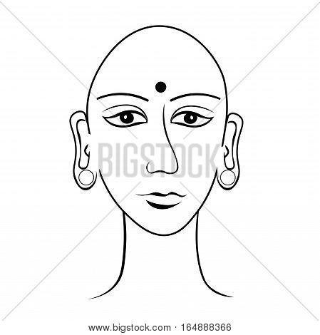 Indian Head Buddha Meditation Open Eye Coloring. Vector Illustration