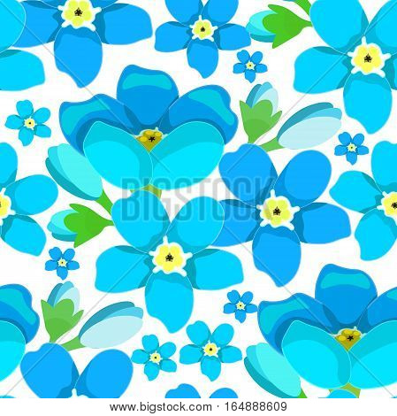 Seamless Pattern  Of Forget-me-alpine A Wild Flower  Vector Illustration