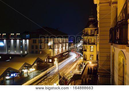 Interlaken,Switzerland-Jan 4,2017: Beautiful night on the road in the winter of Interlaken. Which is a famous tourist city of Switzerland.
