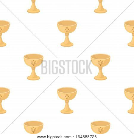 Wine cup icon in cartoon style isolated on white background. Religion pattern vector illustration.