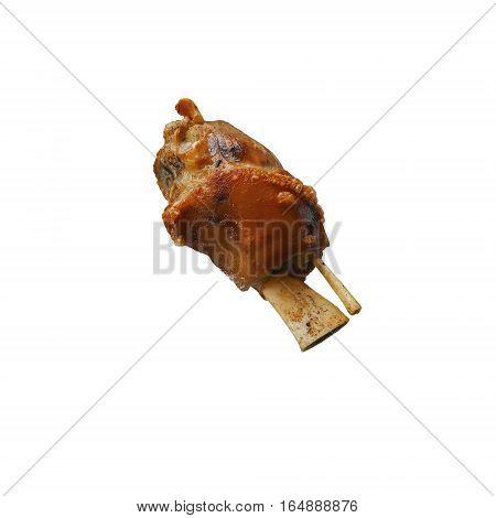 German pork knuckle roast isolated on white background.
