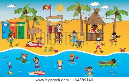 illustration of summer beach with happy people