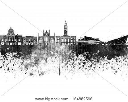 Kingston Upon Hull Skyline In Black Watercolor