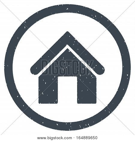 Home rubber seal stamp watermark. Icon vector symbol with grunge design and dust texture. Scratched smooth blue ink sign on a white background.