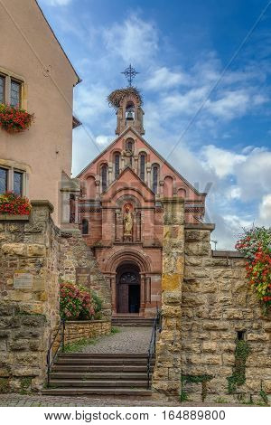 St. Leo chapel where relics of Pope St Leo IX are conserved Eguisheim Alsace France