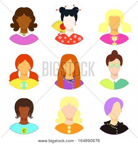 Set Of Woman, Girl Japan, Punk, Emo, Teacher. Vector Illustration