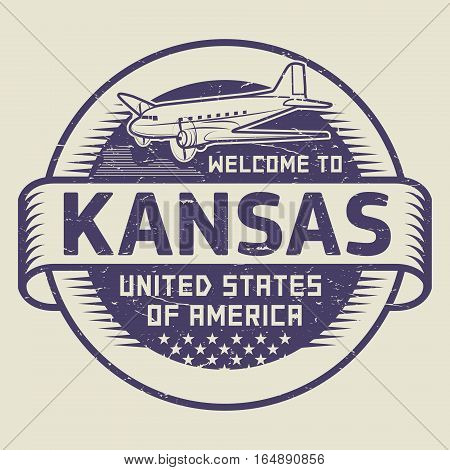 Grunge rubber stamp or tag with airplane and text Welcome to Kansas United States of America vector illustration