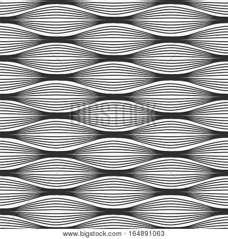 Waves seamless pattern. Stock vector illustration of abstract elements in rows.