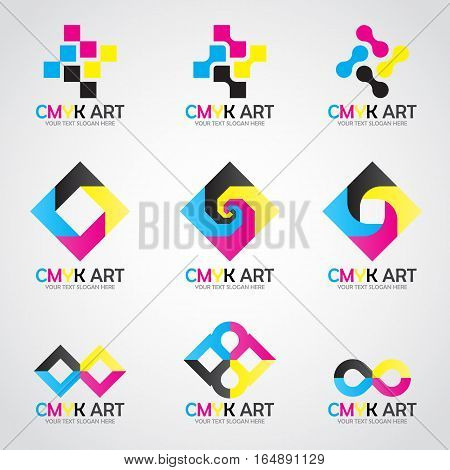 CMYK Art logo vector set design- cyan and magenta and yellow and key(black) color
