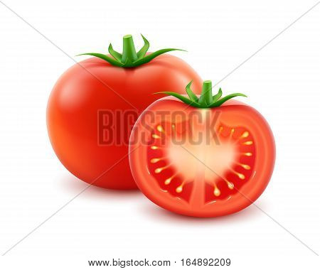 Vector Big Ripe Red Fresh Cut Whole Tomato Close up Isolated on White Background