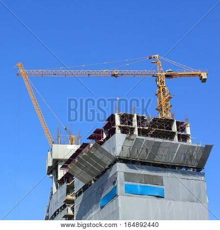 Construction Site Building Industry With Machinery Crane Working