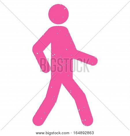 Walking Man grainy textured pink icon for overlay watermark stamps. Flat symbol with unclean texture. Dotted vector ink rubber seal stamp with grunge design on a white background.