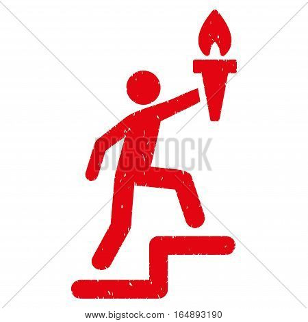 Climbing Leader With Torch grainy textured red icon for overlay watermark stamps. Flat symbol with dust texture. Dotted vector ink rubber seal stamp with grunge design on a white background.