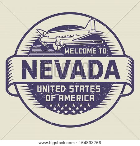 Grunge rubber stamp or tag with airplane and text Welcome to Nevada United States of America vector illustration