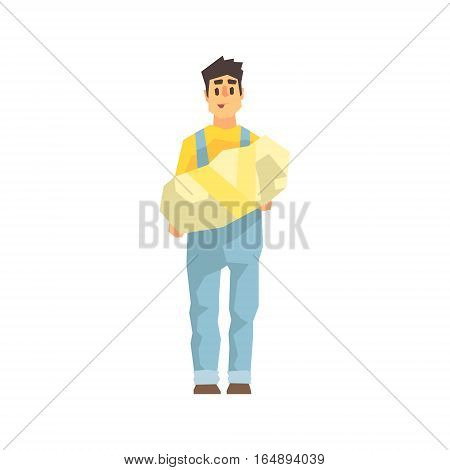 Worker Holding Wrapped Package In Hands, Delivery Company Employee Delivering Shipments Illustration. Part Of Manual Laborer Loading And Bringing Items Cartoon Characters Set.