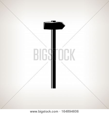 Silhouette hammer or sledgehammer, claw hammer on a light background, black and white illustration