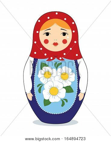 Vector colorful illustration of a Russian nesting doll Matryoshka crying. Bright colors traditional ornament. Isolated on white.