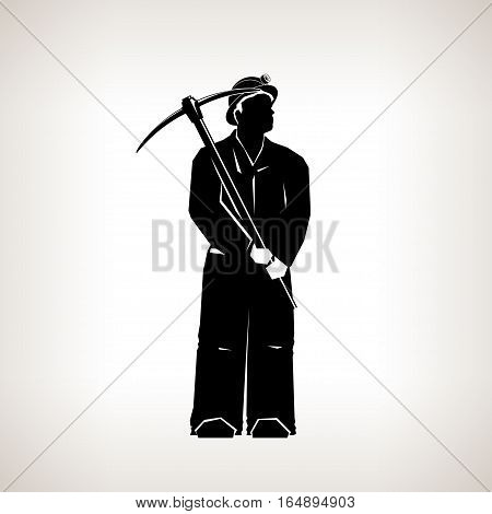 Silhouette Miner, Mining Industry, Miner Holding a Pickax on  Light Background ,Black and White Illustration