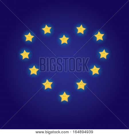 Vector illustration of a cartoon smiling stars arranged in the shape of a heart. Square format dark blue background.