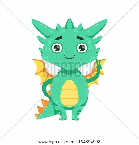 Little Anime Style Baby Dragon Smiling And Showing Peace Gesture Cartoon Character Emoji Illustration. Vector Childish Emoticon Drawing With Fantasy Dragon-like Cute Creature.