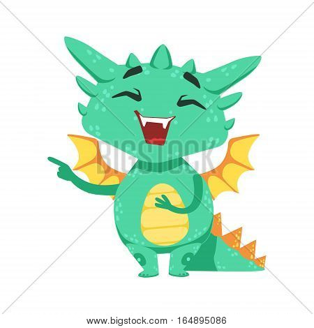 Little Anime Style Baby Dragon Laughing And Mocking Cartoon Character Emoji Illustration. Vector Childish Emoticon Drawing With Fantasy Dragon-like Cute Creature.