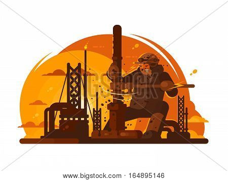 Oilman drills new borehole for oil production. Vector illustration flat