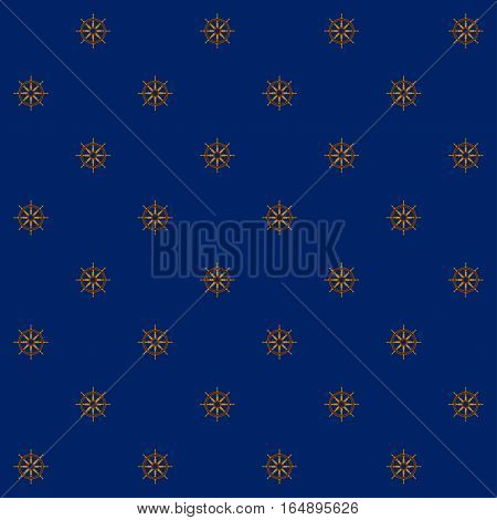 Seamless Pattern with Ship's Wheel on a Blue Background