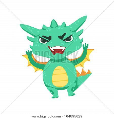 Little Anime Style Baby Dragon Angry In Offence Cartoon Character Emoji Illustration. Vector Childish Emoticon Drawing With Fantasy Dragon-like Cute Creature.