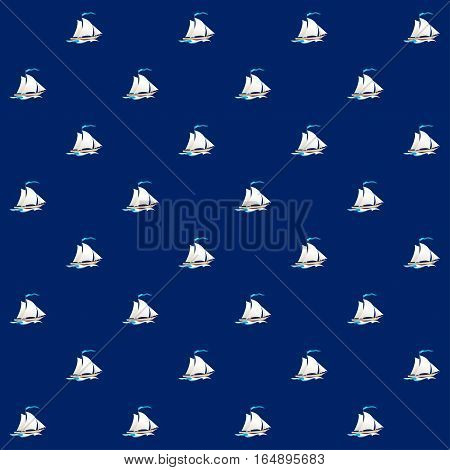 Seamless Pattern with Sailing Vessel ,Sailboats on a Blue Background,