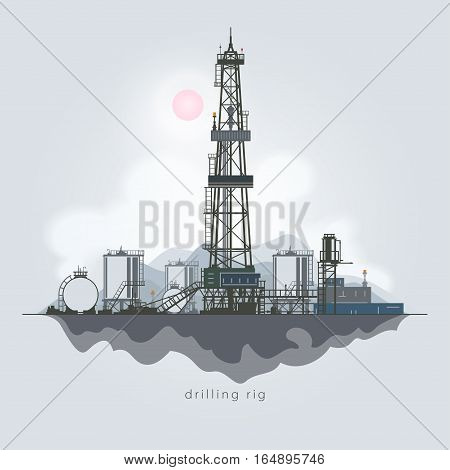 Drilling Rig in the Background of Mountains ,Oil Rig,Oil Well ,Drilling Oil or Natural Gas, Drilling Rigs with Outbuildings and Tanks and Cisterns